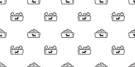 Dog bowl seamless pattern vector french bulldog dog food paw bone cartoon scarf isolated tile background repeat wallpaper