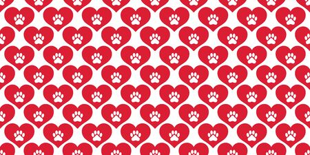 dog paw seamless pattern vector heart french bulldog valentine background scarf isolated wallpaper Ilustracja