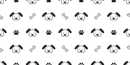 Dog seamless pattern Dachshund vector puppy paw bone scarf isolated cartoon illustration repeat wallpaper tile background Ilustracja