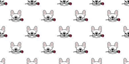 Dog seamless pattern french bulldog vector valentine rose flower tile background cartoon scarf isolated repeat wallpaper illustration