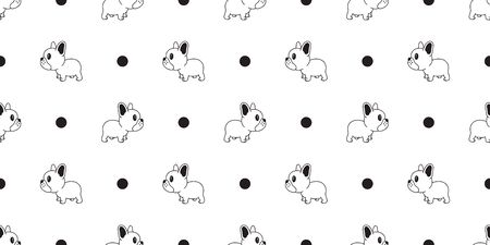 Dog seamless pattern vector french bulldog polka dot tile background scarf isolated wallpaper