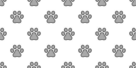 Dog Paw seamless pattern footprint vector french bulldog polka dot tile background repeat wallpaper scarf isolated illustration gift wrap Ilustracja