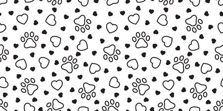 Dog Paw seamless pattern heart vector french bulldog valentine footprint cartoon tile background repeat wallpaper scarf isolated illustration gift wrap