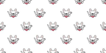 dog seamless pattern vector french bulldog chef food kitchen polka dot scarf cartoon character illustration repeat wallpaper tile background