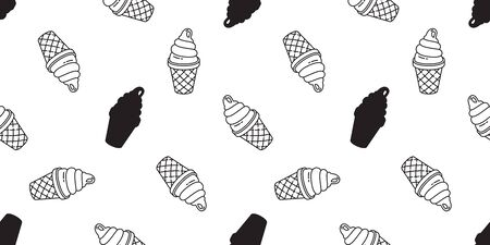 ice cream seamless pattern vector cone vanilla chocolate scarf isolated cartoon illustration repeat wallpaper tile background