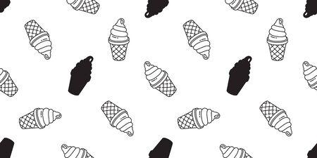 ice cream seamless pattern vector cone vanilla chocolate scarf isolated cartoon illustration repeat wallpaper tile background Фото со стока - 130566318