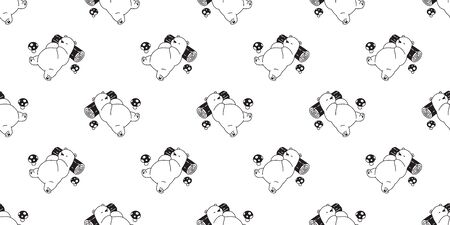Bear seamless pattern vector polar bear sleeping mushroom cartoon illustration tile background repeat wallpaper scarf isolated