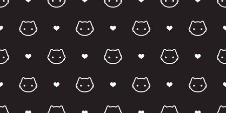 cat Seamless Pattern vector kitten calico heart valentine halloween tile background scarf isolated wallpaper