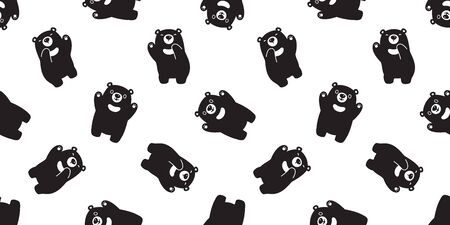 Bear seamless pattern vector polar bear Happy dancing scarf isolated cartoon illustration tile background repeat wallpaper