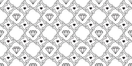 bone seamless pattern vector diamond gem Halloween pirate tile background scarf isolated wallpaper repeat Illustration