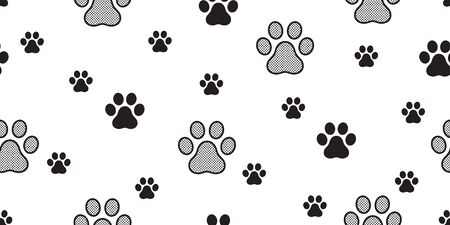 Dog Paw seamless pattern footprint vector french bulldog polka dot tile background scarf isolated repeat wallpaper illustration gift wrap