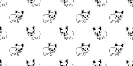 Dog seamless pattern french bulldog vector pug isolated repeat background tile wallpaper Ilustrace