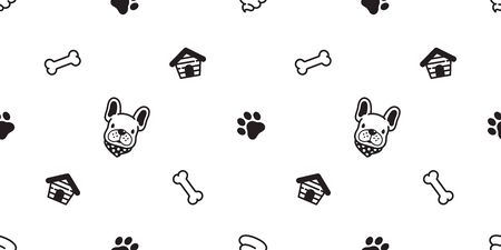 Dog seamless pattern vector french bulldog Paw bone footprint house poo cartoon tile background repeat wallpaper scarf isolated illustration gift wrap Ilustracja