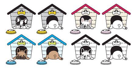 dog vector french bulldog house bowl food bone icon logo cartoon character illustration symbol Ilustracja