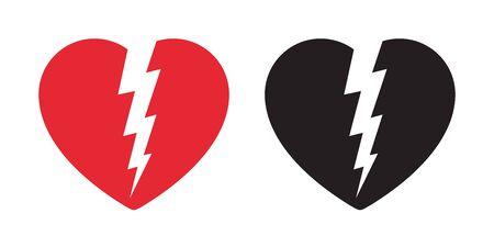 heart vector icon logo valentine flash light thunder symbol cartoon illustration sign Foto de archivo - 130568157