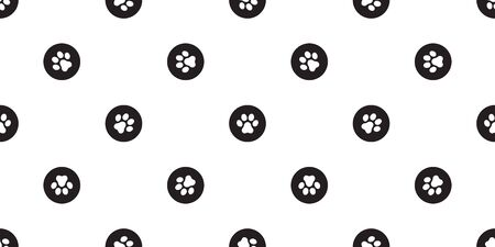 paw seamless pattern dog paw vector french bulldog dog bone polka dot isolated wallpaper background