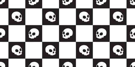 skull checked seamless pattern vector Halloween pirate bone scarf isolated tile background repeat wallpaper Ilustrace