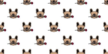 Dog seamless pattern french bulldog vector valentine rose flower tile background cartoon scarf isolated repeat wallpaper illustration brown Ilustrace