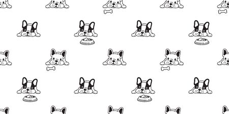 dog seamless pattern vector french bulldog bone food bowl scarf isolated repeat wallpaper tile background illustration doodle Vector Illustration