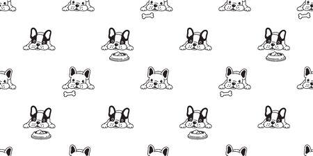 pies bez szwu wzór wektor buldog francuski kość jedzenie miska szalik na białym tle powtarzanie tapety dachówka tło ilustracja doodle Ilustracje wektorowe