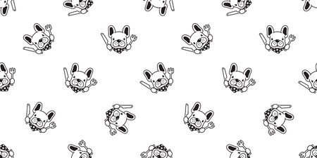 dog seamless pattern vector french bulldog chef kitchen food polka dot scarf cartoon character illustration repeat wallpaper tile background