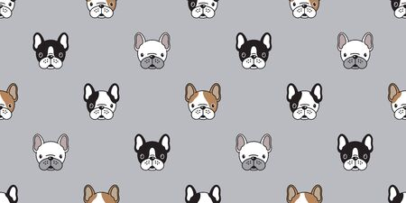 Dog seamless pattern vector french bulldog pug isolated wallpaper background Ilustrace