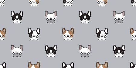 Hund nahtlose Muster Vektor französische Bulldogge Mops isoliert Tapetenhintergrund Vektorgrafik