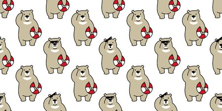 bear seamless pattern polar bear vector beach swim ring panda teddy scarf cartoon isolated tile background repeat wallpaper illustration brown 일러스트