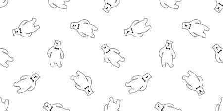 bear seamless pattern polar bear vector bow tie panda teddy scarf cartoon isolated tile background repeat wallpaper illustration