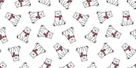 bear seamless pattern polar bear vector scarf panda teddy isolated background repeat wallpaper cartoon 일러스트