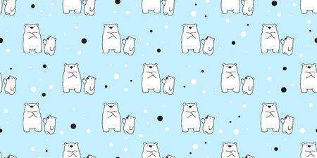 Bear seamless pattern polar bear vector snow tile background wallpaper scarf isolated illustration cartoon