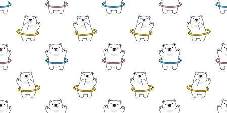 Bear seamless pattern vector Hoop sport polar bear cartoon scarf isolated repeat wallpaper tile background illustration
