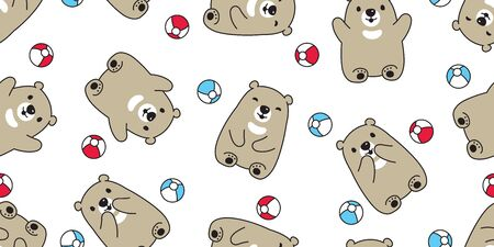 Bear seamless pattern vector polar bear ball balloon teddy cartoon scarf isolated repeat wallpaper tile background illustration