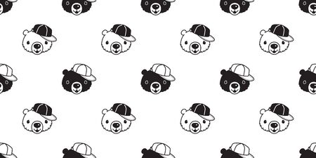 Bear seamless pattern vector polar bear cap hat cartoon scarf isolated repeat wallpaper tile background illustration Иллюстрация
