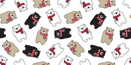 Bear seamless pattern vector polar bear Christmas tree scarf Santa Claus Xmas isolated cartoon illustration tile background repeat wallpaper