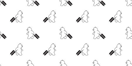 Bear seamless pattern vector traveller travel bag polar bear cartoon scarf isolated tile background repeat wallpaper illustration Иллюстрация