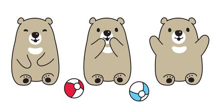 Bear vector polar bear ball sitting cartoon character illustration