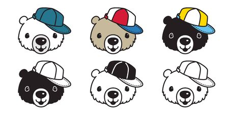 Bear vector polar bear cap hat baseball cartoon character illustration