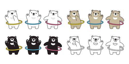 Bear vector polar bear hoop sport fat gym weight training cartoon character illustration