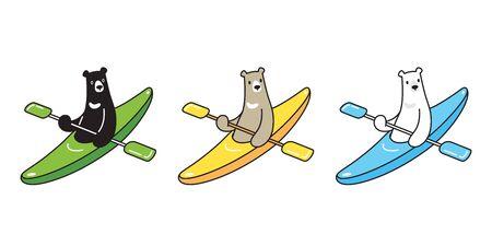 Bear vector polar bear kayak boating boat cartoon character icon illustration 일러스트