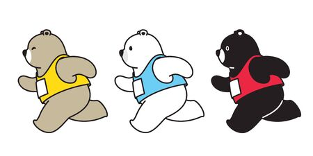 Bear vector polar bear running marathon cartoon character icon logo illustration