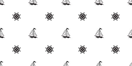 boat anchor helm seamless pattern vector maritime Nautical tropical isolated background wallpaper Çizim