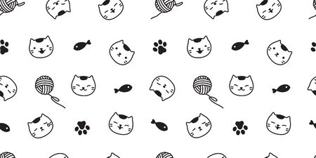 cat seamless pattern vector paw kitten scarf isolated background repeat wallpaper  イラスト・ベクター素材