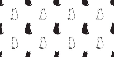 cat Seamless pattern vector kitten calico cartoon scarf isolated halloween tile background doodle illustration repeat wallpaper