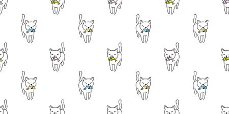 cat Seamless pattern vector kitten calico fish salmon cartoon scarf isolated tile background doodle illustration repeat wallpaper white pastel
