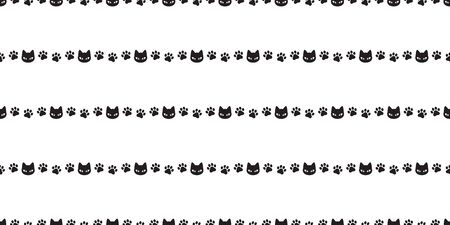 Cat seamless pattern vector paw kitten calico cartoon illustration tile background scarf isolated repeat wallpaper gift wrap