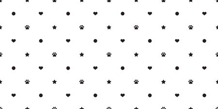 Dog paw seamless pattern vector french bulldog heart star paw polka dot tile background scarf isolated repeat wallpaper