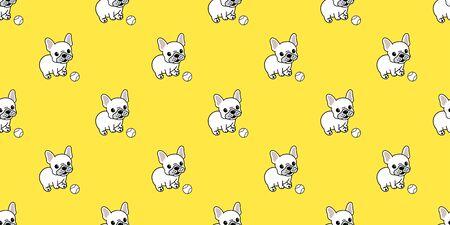 Dog seamless pattern vector french bulldog baseball repeat background tile cartoon wallpaper isolated yellow 일러스트