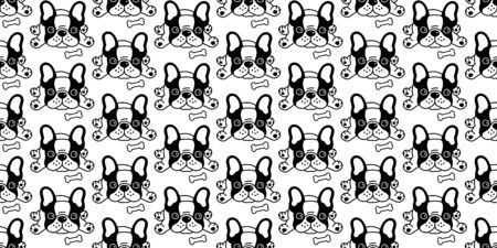 Dog seamless pattern vector french bulldog bone cartoon illustration scarf isolated tile background repeat wallpaper