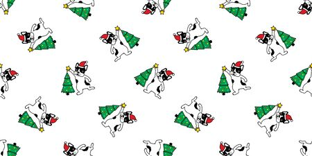 dog seamless pattern vector Christmas tree french bulldog Santa Claus hat scarf isolated repeat wallpaper tile background illustration doodle